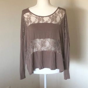 Light Brown Long Sleeve Shirt with lace bands